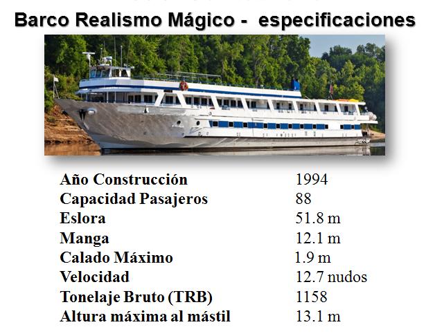 barco crucero realismo magico caracteristicas y capacidad